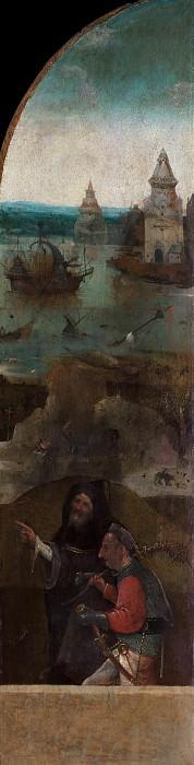 Saint Wilgefortis Triptych - Monk and Soldier. Hieronymus Bosch