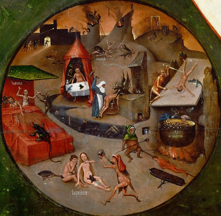 The Seven Deadly Sins and the Four Last Things - Hell (workshop or follower). Hieronymus Bosch