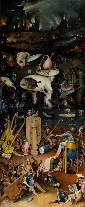 The Garden of Earthly Delights, right wing - Hell. Hieronymus Bosch