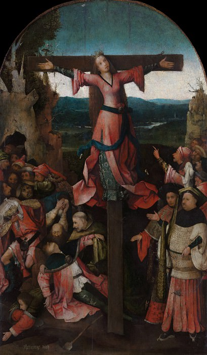 Saint Wilgefortis Triptych - The Crucified Female Martyr. Hieronymus Bosch