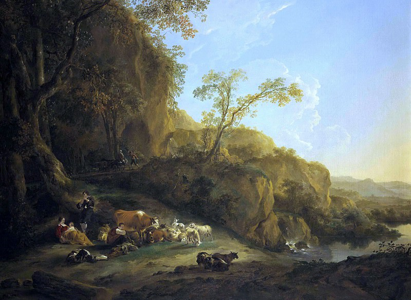 An Italianate landscape with shepherds. Nicolaes (Claes Pietersz.) Berchem
