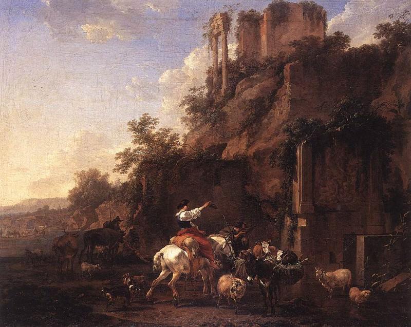 Rocky Landscape with Antique Ruins. Nicolaes (Claes Pietersz.) Berchem