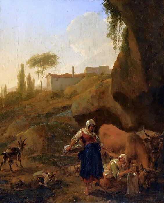 Итальянский пейзаж с крестьянками. Николас Питерс Берхем