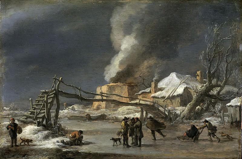 Winter landscape with lime kiln. Nicolaes (Claes Pietersz.) Berchem