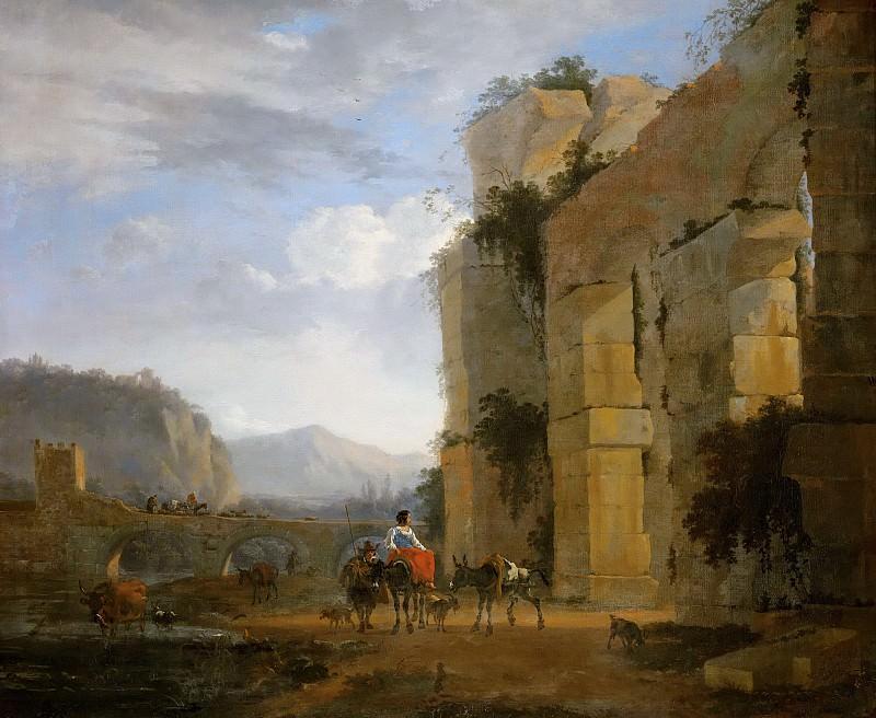 Italian Landscape with Ruined Aqueduct. Nicolaes (Claes Pietersz.) Berchem