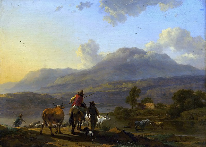 Italian Landscape at Sunset. Nicolaes (Claes Pietersz.) Berchem
