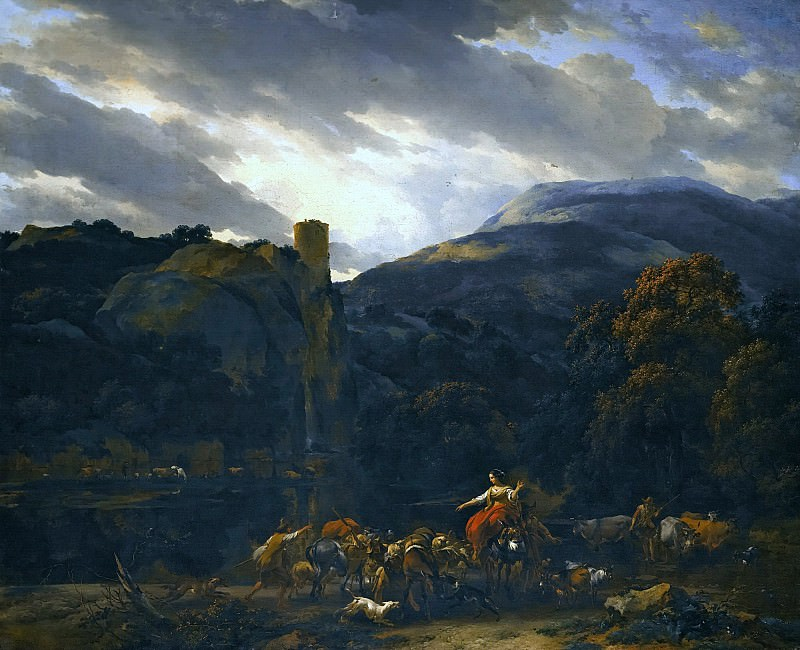 ITALIANATE LANDSCAPE WITH A RIVER BENEATH A CASTLE. Nicolaes (Claes Pietersz.) Berchem