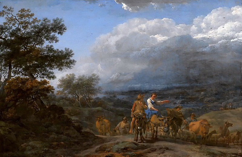 A Hilly Landscape With Herdsmen And Cattle. Nicolaes (Claes Pietersz.) Berchem