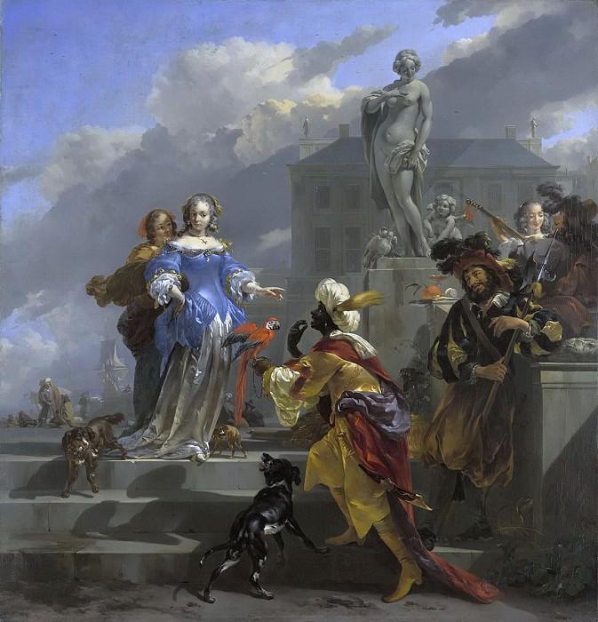 A Moor Presenting a Parrot to a Lady. Nicolaes (Claes Pietersz.) Berchem