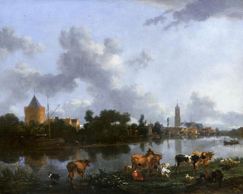 Вид Лунена с замком Кроненбург. Nicolaes (Claes Pietersz.) Berchem
