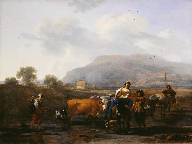 Итальянский пейзаж с путниками. Николас Питерс Берхем