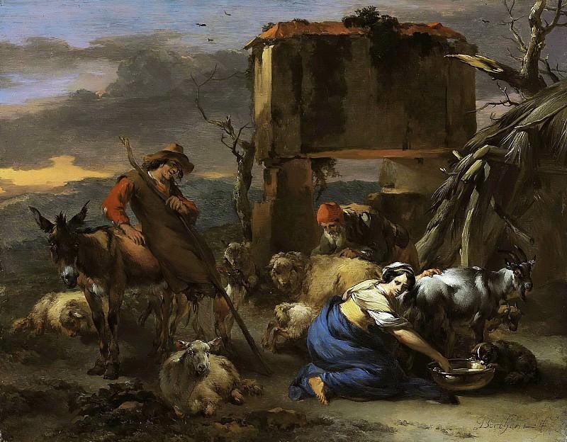 A shepherdess milking a goat, a peasant shearing a sheep. Nicolaes (Claes Pietersz.) Berchem