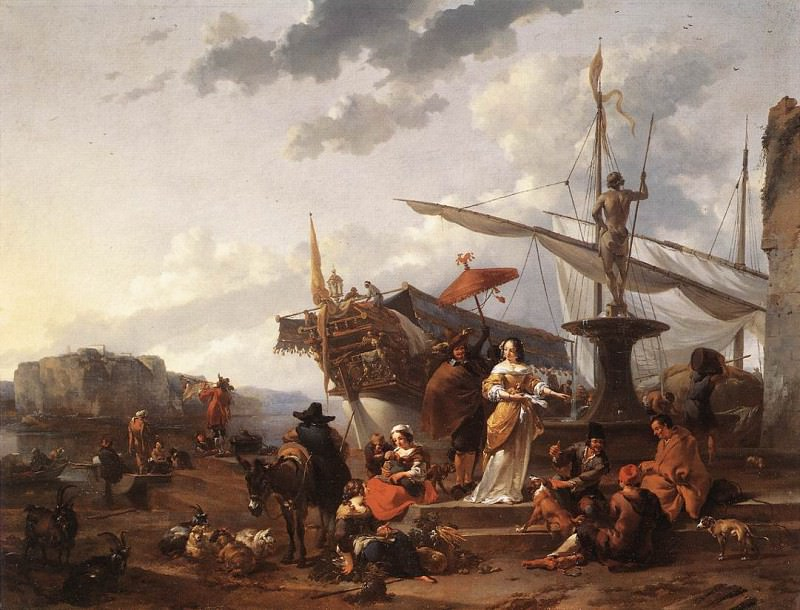 A Southern Harbour Scene. Nicolaes (Claes Pietersz.) Berchem