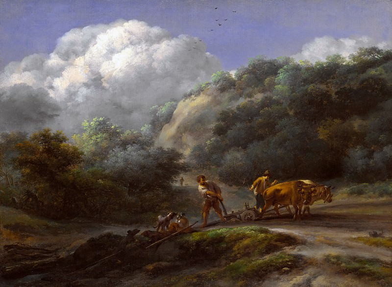 A Man and a Youth ploughing with Oxen. Nicolaes (Claes Pietersz.) Berchem
