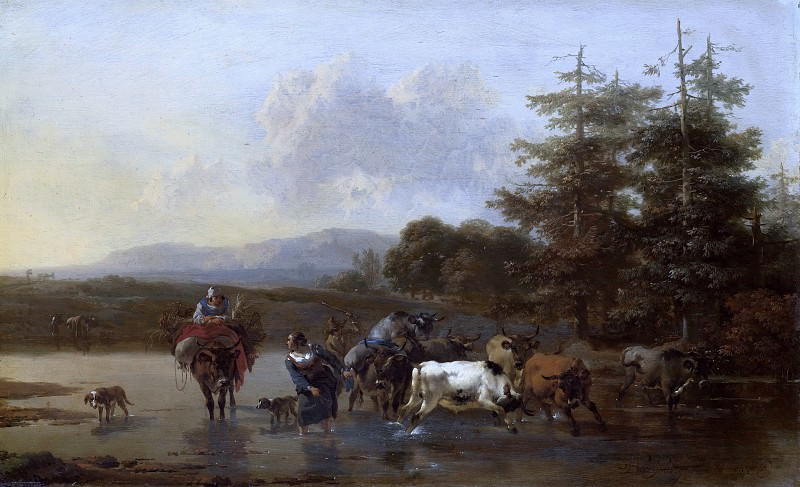 The shepherds with a herd, passing the stream. Nicolaes (Claes Pietersz.) Berchem