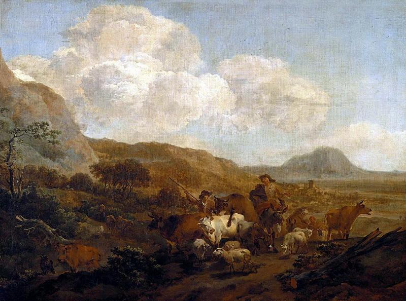 Two shepherd leading a flock. Nicolaes (Claes Pietersz.) Berchem