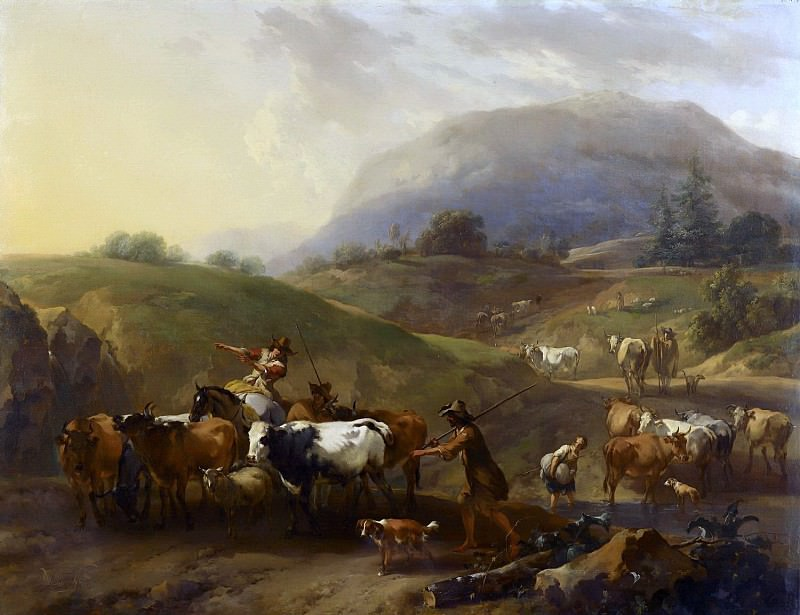 Mountainous landscape with herdsmen driving cattle. Nicolaes (Claes Pietersz.) Berchem