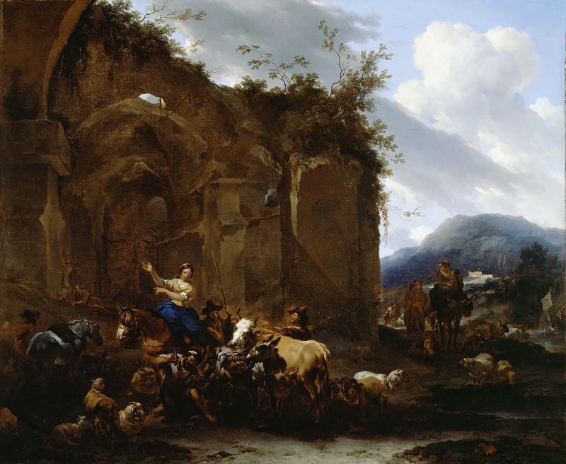A Farrier and Peasants near Roman Ruins. Nicolaes (Claes Pietersz.) Berchem