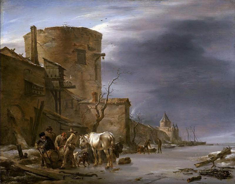 Haarlem City Wall in the winter. Nicolaes (Claes Pietersz.) Berchem