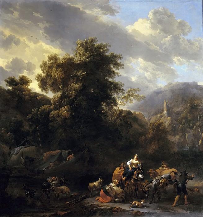 Итальянский пейзаж с фигурами и животными на берегу реки. Николас Питерс Берхем