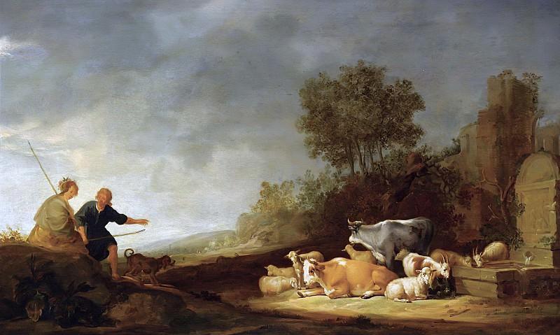 Пейзаж с пастухами и стадом у источника. Николас Питерс Берхем