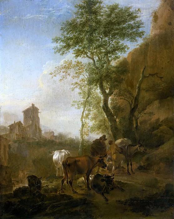ITALIANATE LANDSCAPE WITH COWS. Nicolaes (Claes Pietersz.) Berchem
