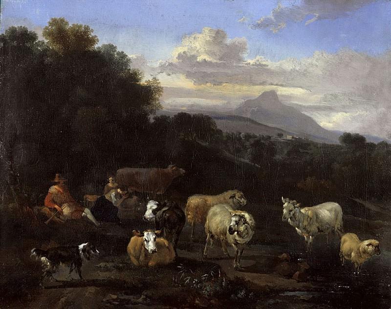 Italian landscape with shepherds and herd. Nicolaes (Claes Pietersz.) Berchem