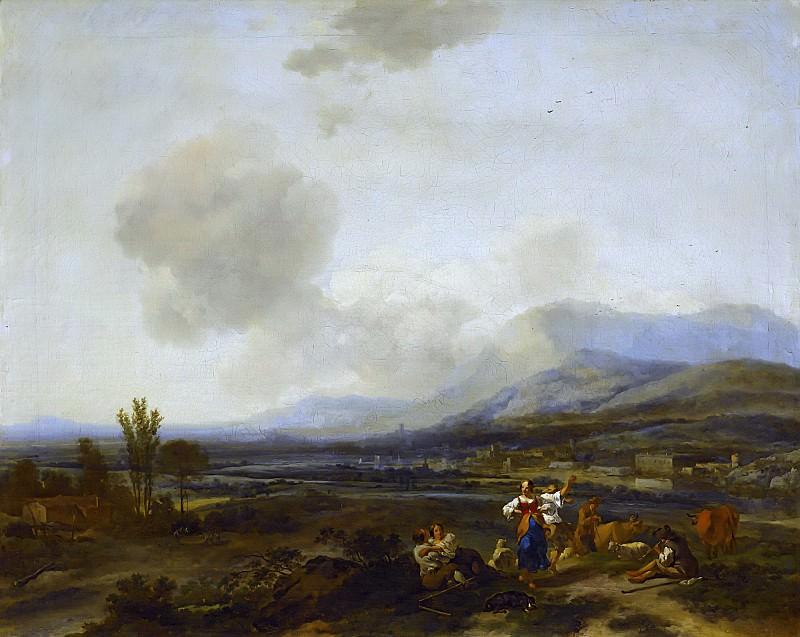 Итальянский пейзаж с танцующими пастухами. Николас Питерс Берхем