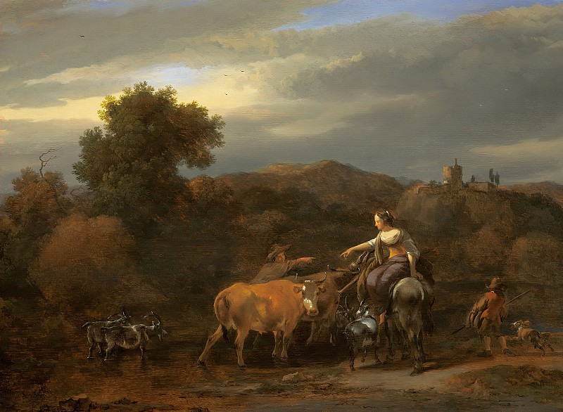 An Evening Landscape with Drovers and their Animals. Nicolaes (Claes Pietersz.) Berchem
