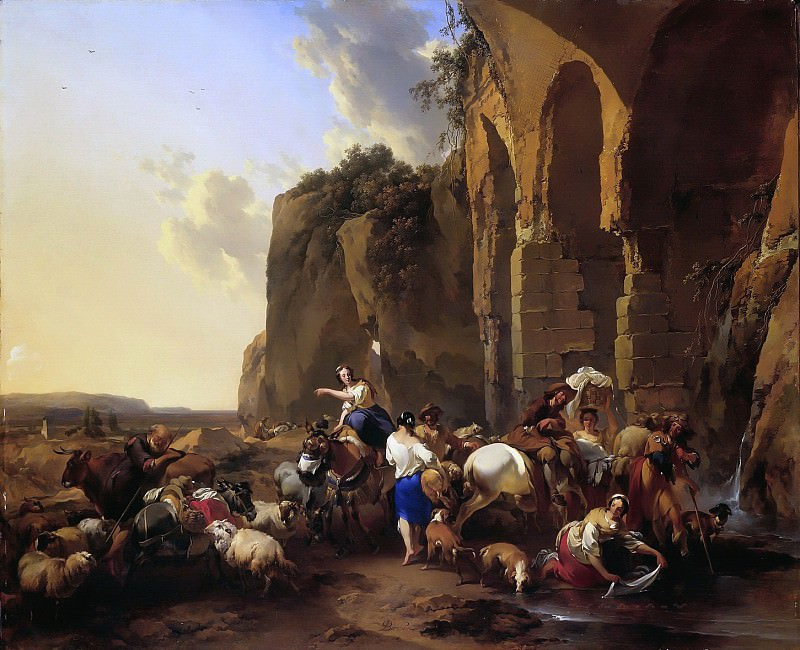 Italian landscape with shepherds and herd at the Roman ruins. Nicolaes (Claes Pietersz.) Berchem