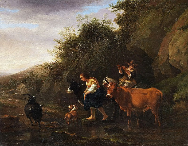 Farmers crossing a stream. Nicolaes (Claes Pietersz.) Berchem