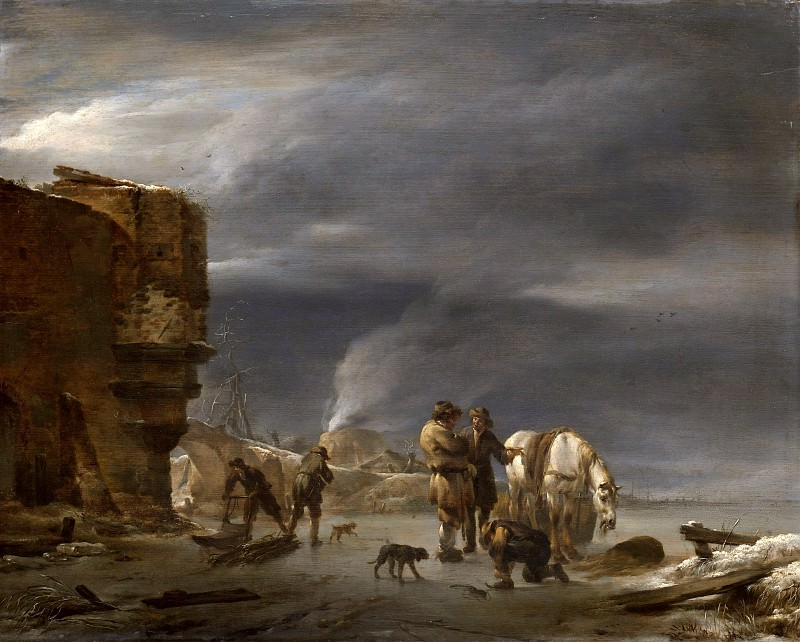 On the ice near the town. Nicolaes (Claes Pietersz.) Berchem