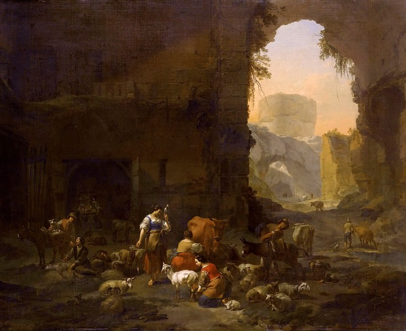 The shepherds with a herd among the ruins. Nicolaes (Claes Pietersz.) Berchem