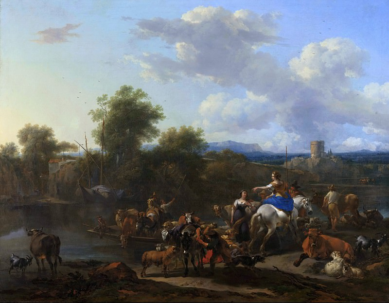 Ferry with livestock. Nicolaes (Claes Pietersz.) Berchem