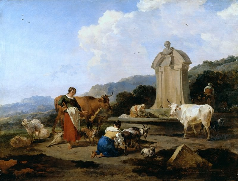Roman Fountain with Cattle and Figures. Nicolaes (Claes Pietersz.) Berchem