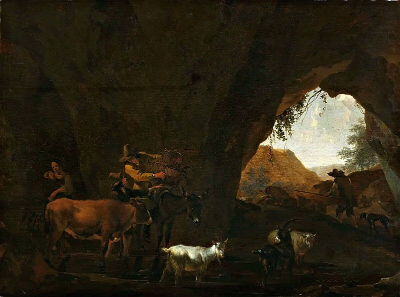 Cave with shepherds and cattle. Nicolaes (Claes Pietersz.) Berchem