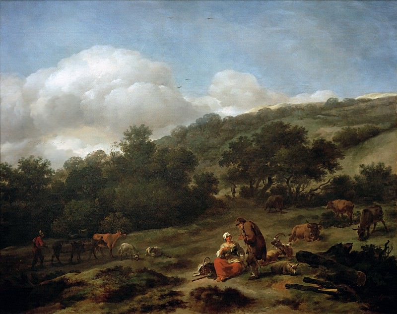 Hilly Landscape with Shepherds. Nicolaes (Claes Pietersz.) Berchem