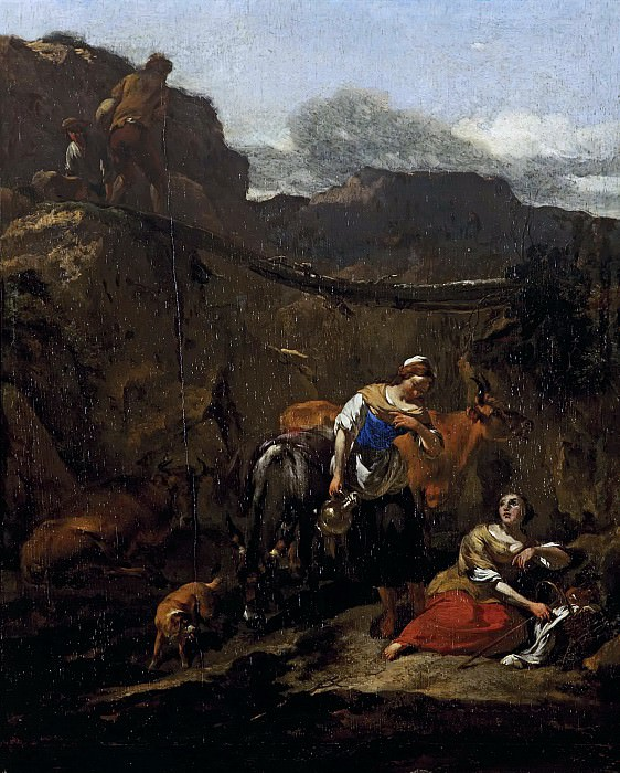 Shepherds resting in a rocky landscape. Nicolaes (Claes Pietersz.) Berchem