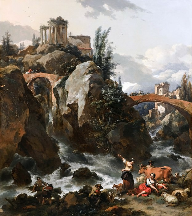 Landscape with a waterfall and the Temple of the Sibyl at Tivoli. Nicolaes (Claes Pietersz.) Berchem