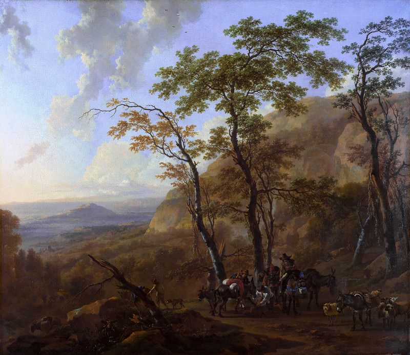 Mountainous Landscape with Muleteers. Nicolaes (Claes Pietersz.) Berchem