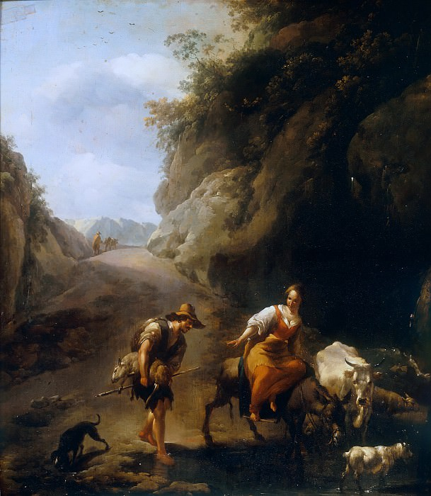 A Rocky Italianate Landscape with a Woman on a Donkey and a Shepherd. Nicolaes (Claes Pietersz.) Berchem