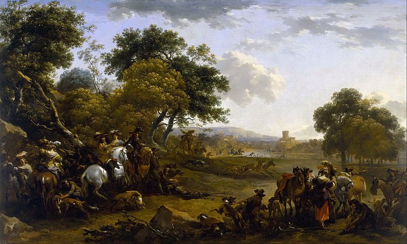 Landscape with a Hunting Party. Nicolaes (Claes Pietersz.) Berchem