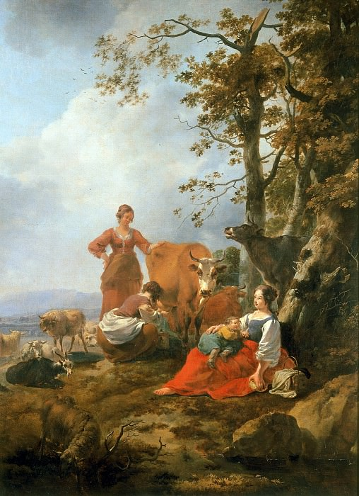 Landscape with herdswomen. Nicolaes (Claes Pietersz.) Berchem