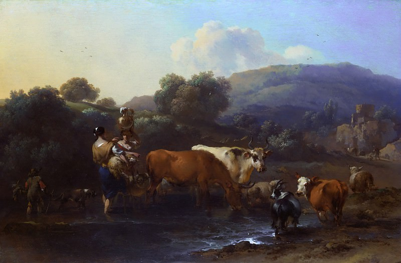 Peasants with Cattle fording a Stream. Nicolaes (Claes Pietersz.) Berchem