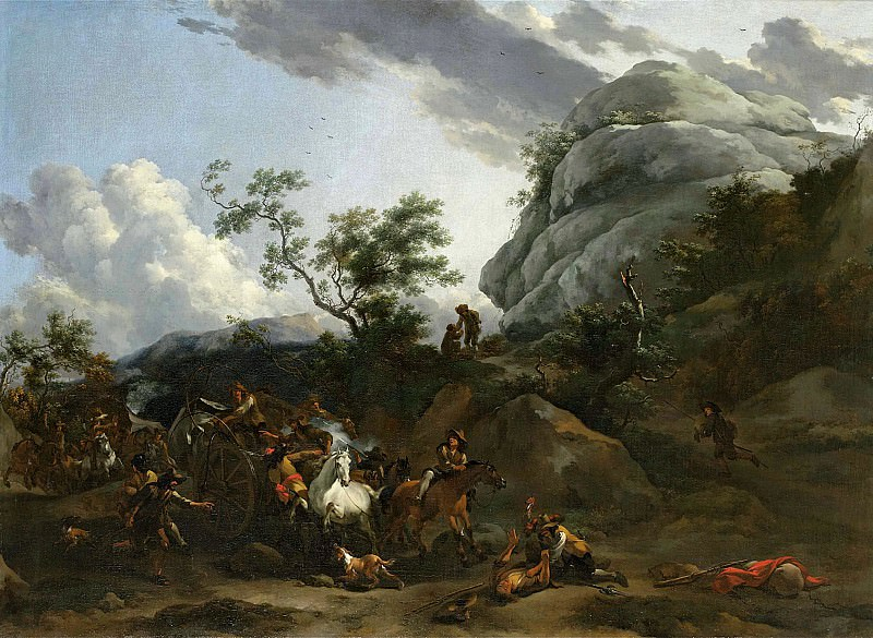 A mountainous landscape with travellers being ambushed. Nicolaes (Claes Pietersz.) Berchem