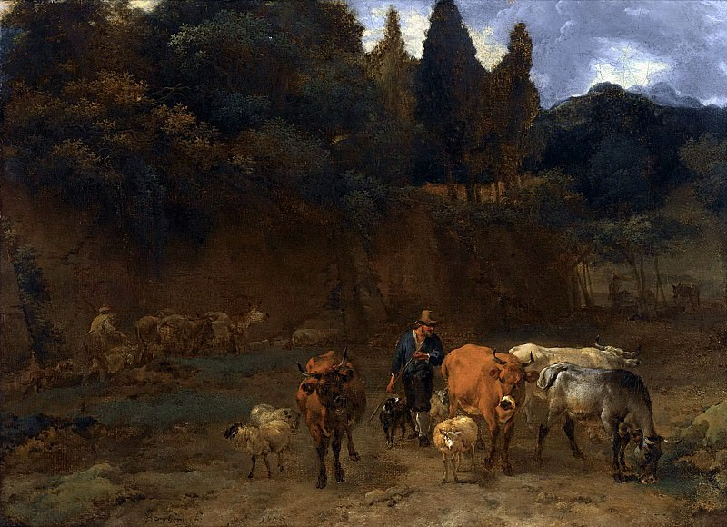 An Italianate Landscape With Shepherds Herding Their Sheep And Cattle. Nicolaes (Claes Pietersz.) Berchem