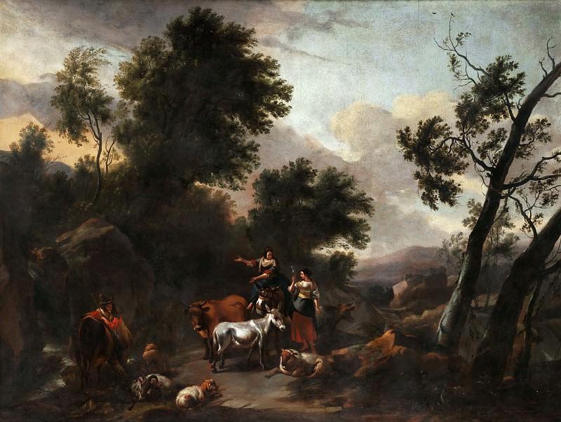 Italian landscape with shepherds. Nicolaes (Claes Pietersz.) Berchem