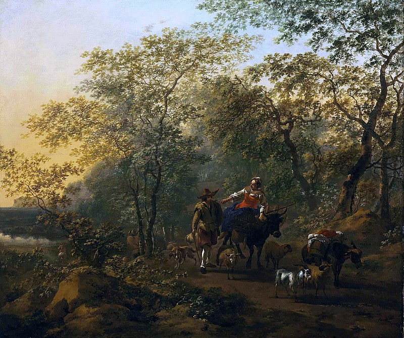An Italianate landscape with a shepherdess and a drover. Nicolaes (Claes Pietersz.) Berchem