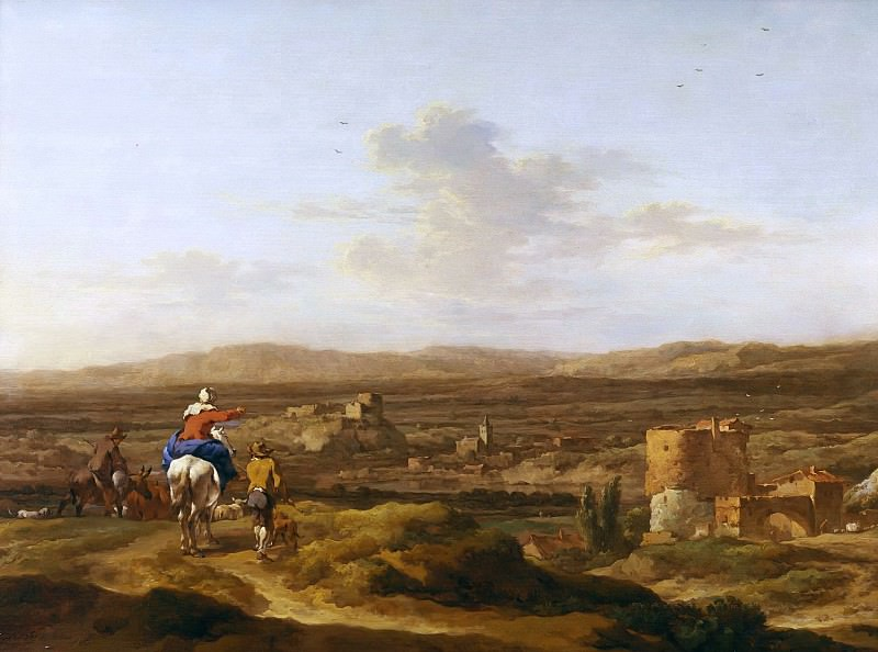 Italian landscape with valley. Nicolaes (Claes Pietersz.) Berchem