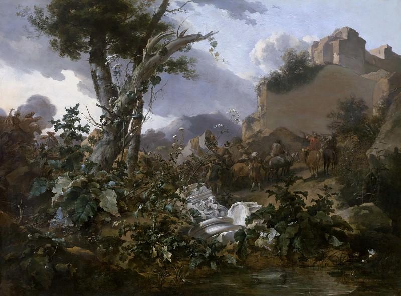 Italian landscape with riders. Nicolaes (Claes Pietersz.) Berchem